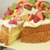 Orange Chiffon Cake with Orange Custard and Whipped Cream Cheese