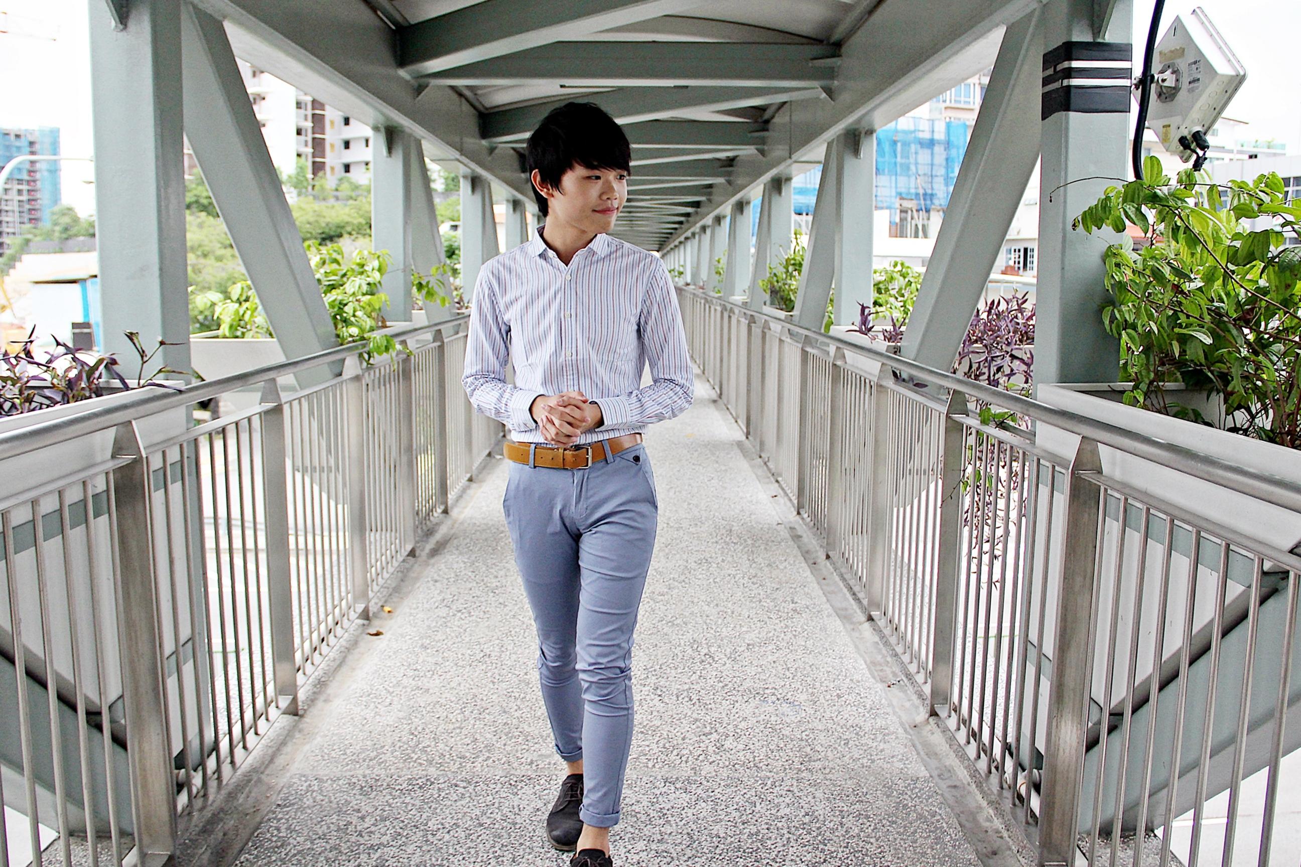 White Shirt and Blue pants