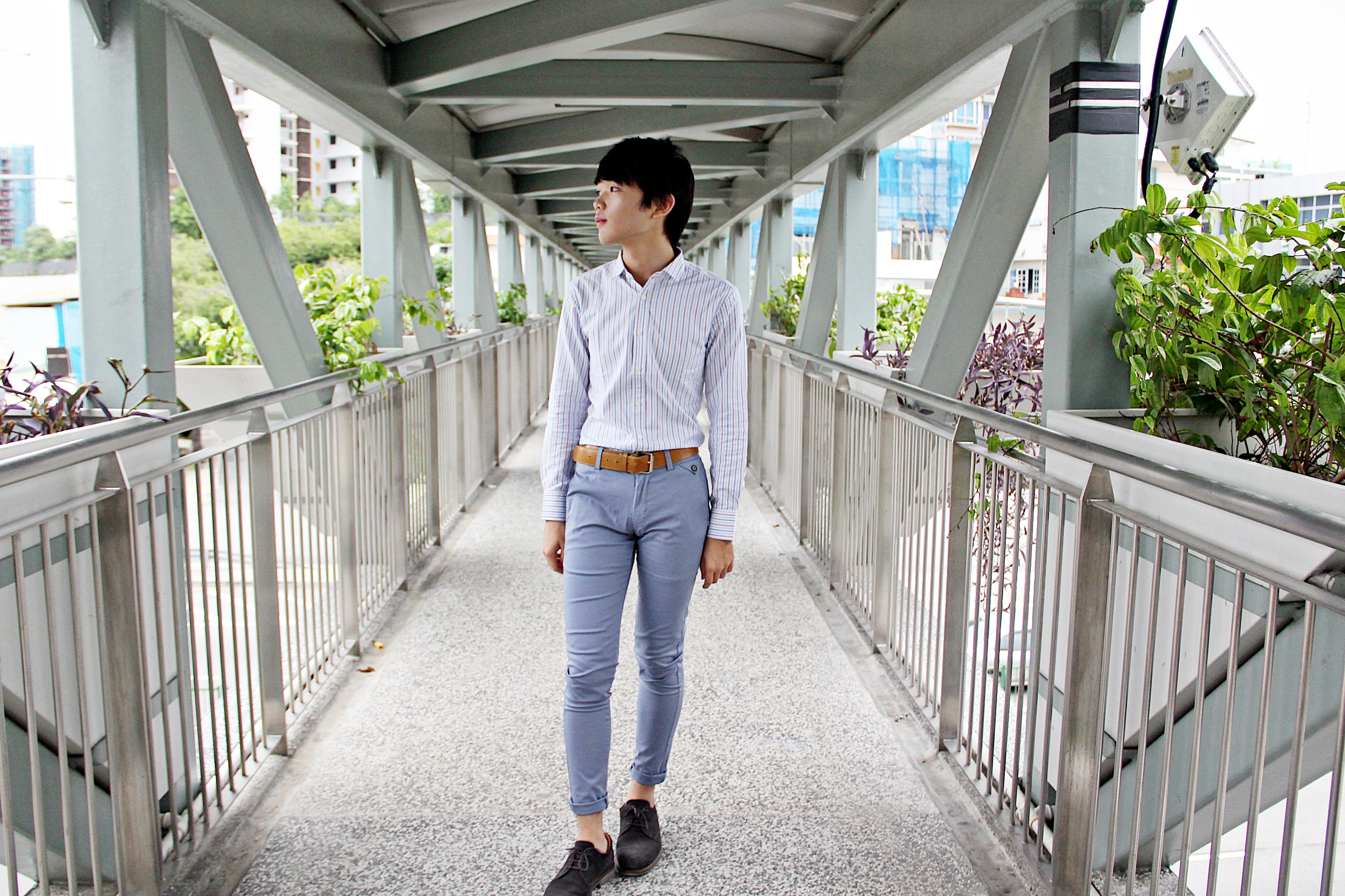 White Shirt and Blue pants 3