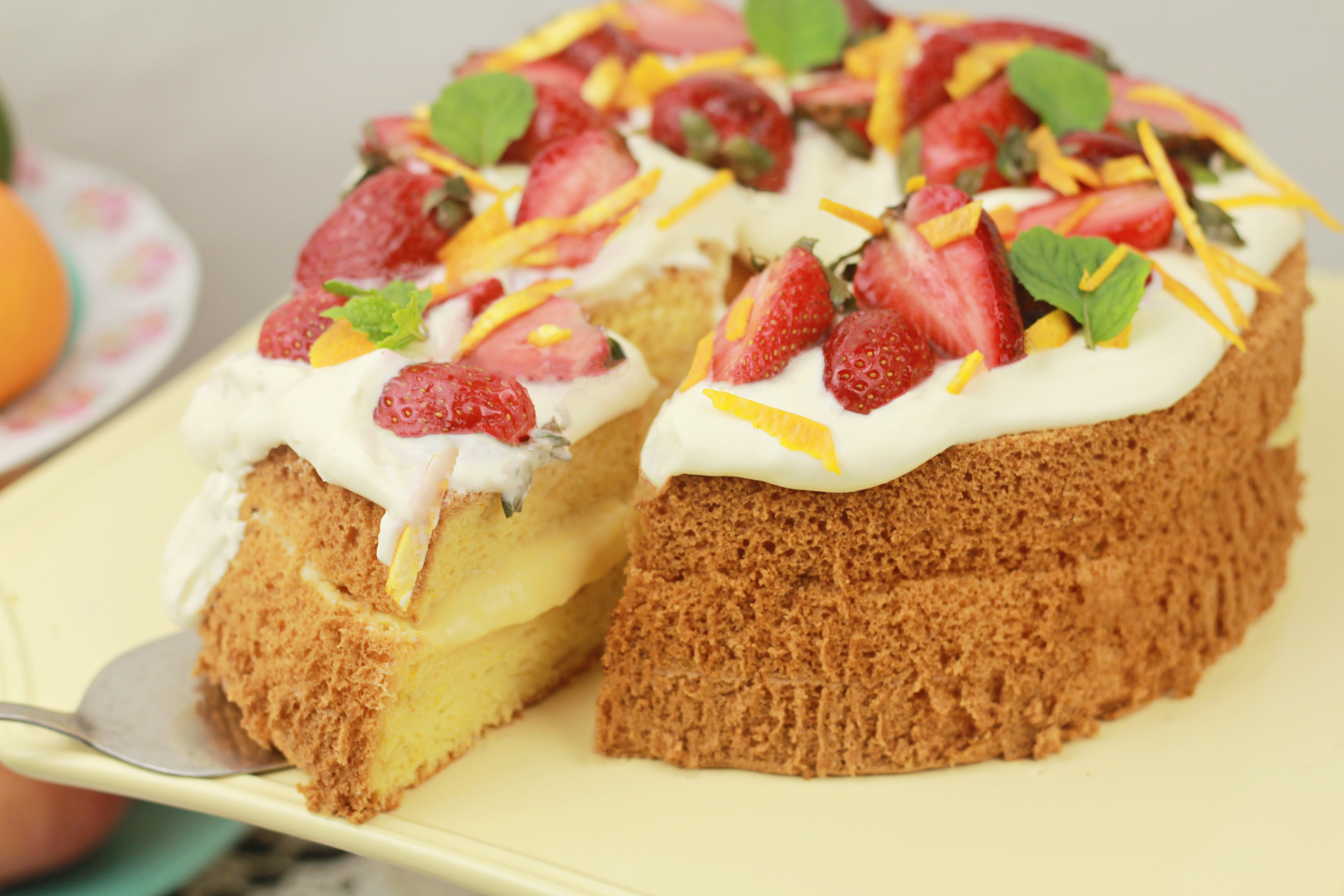 Orange Chiffon Cake With Orange Custard And Whipped Cream