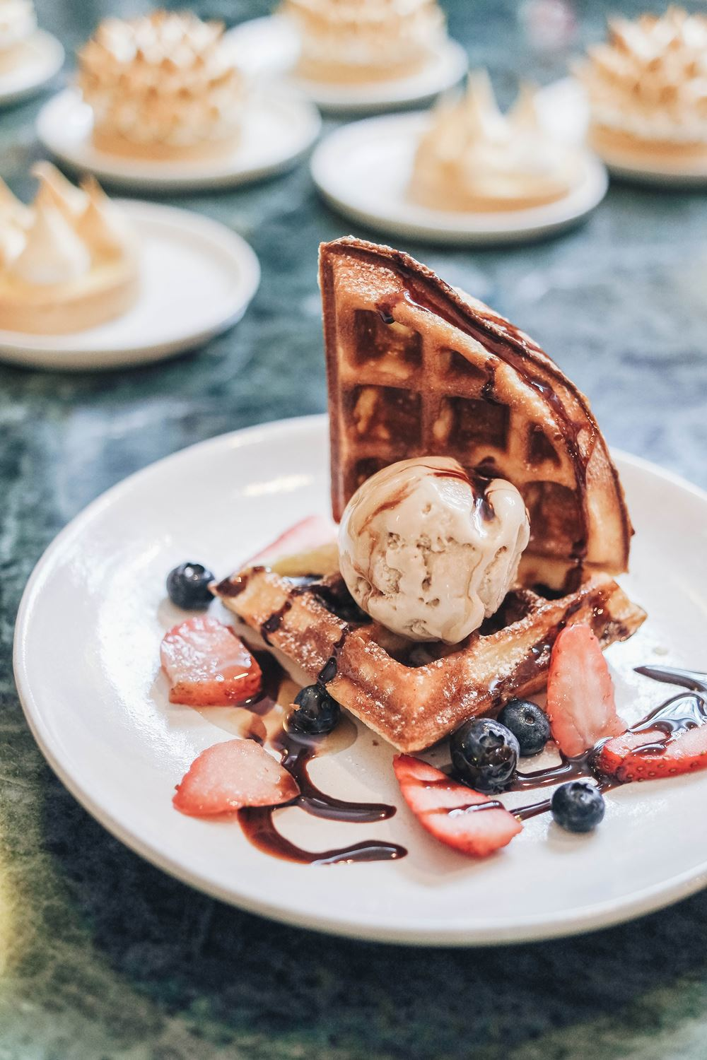 Handcrafted waffles with ice-cream