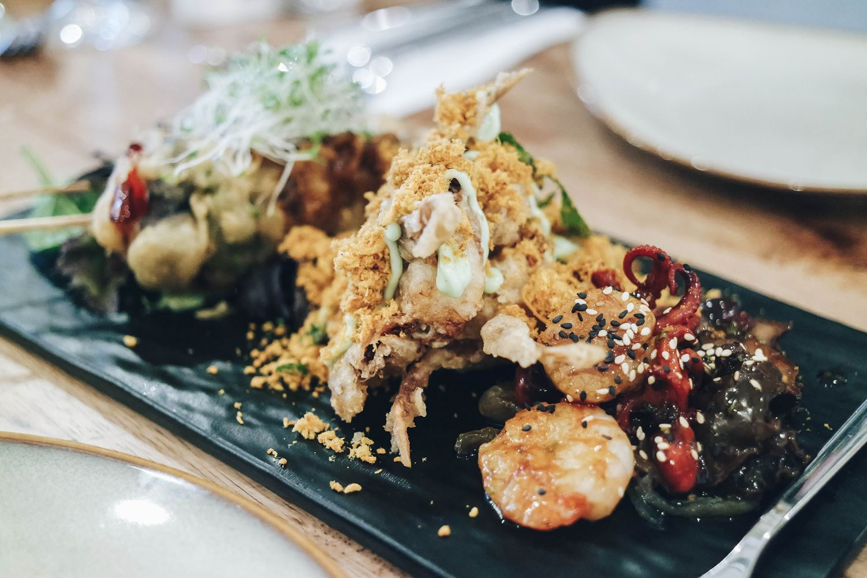 Mushroom Skewers, Shiitake mushrooms, Deep-fried Soft Shell Crab with Curry Chicken Floss, Quad Seafood