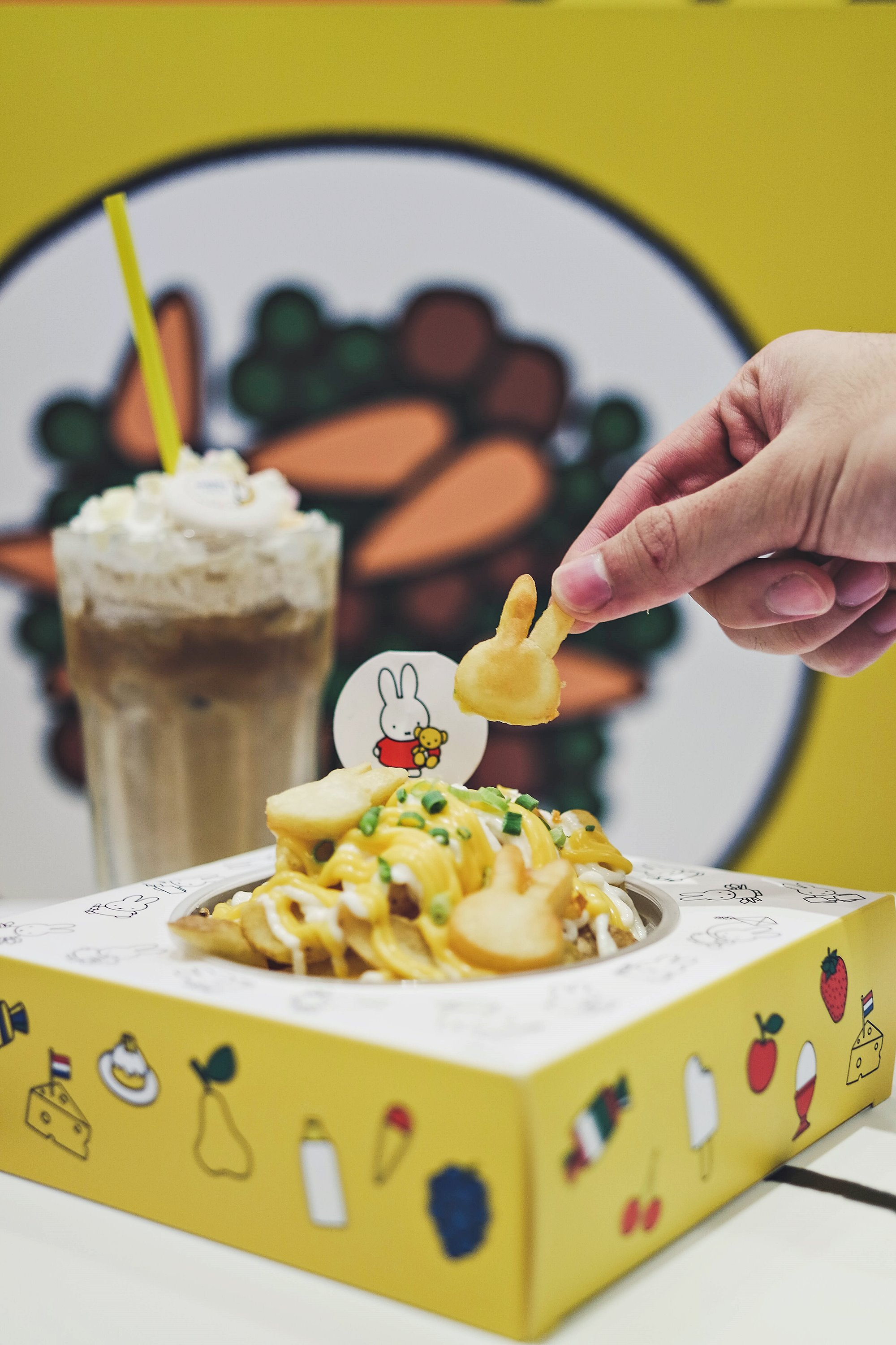 Miffy's Nice Nacho Cheese Fries and Iced Latte Delight - Miffy Character Themed Cafe - Kumoya