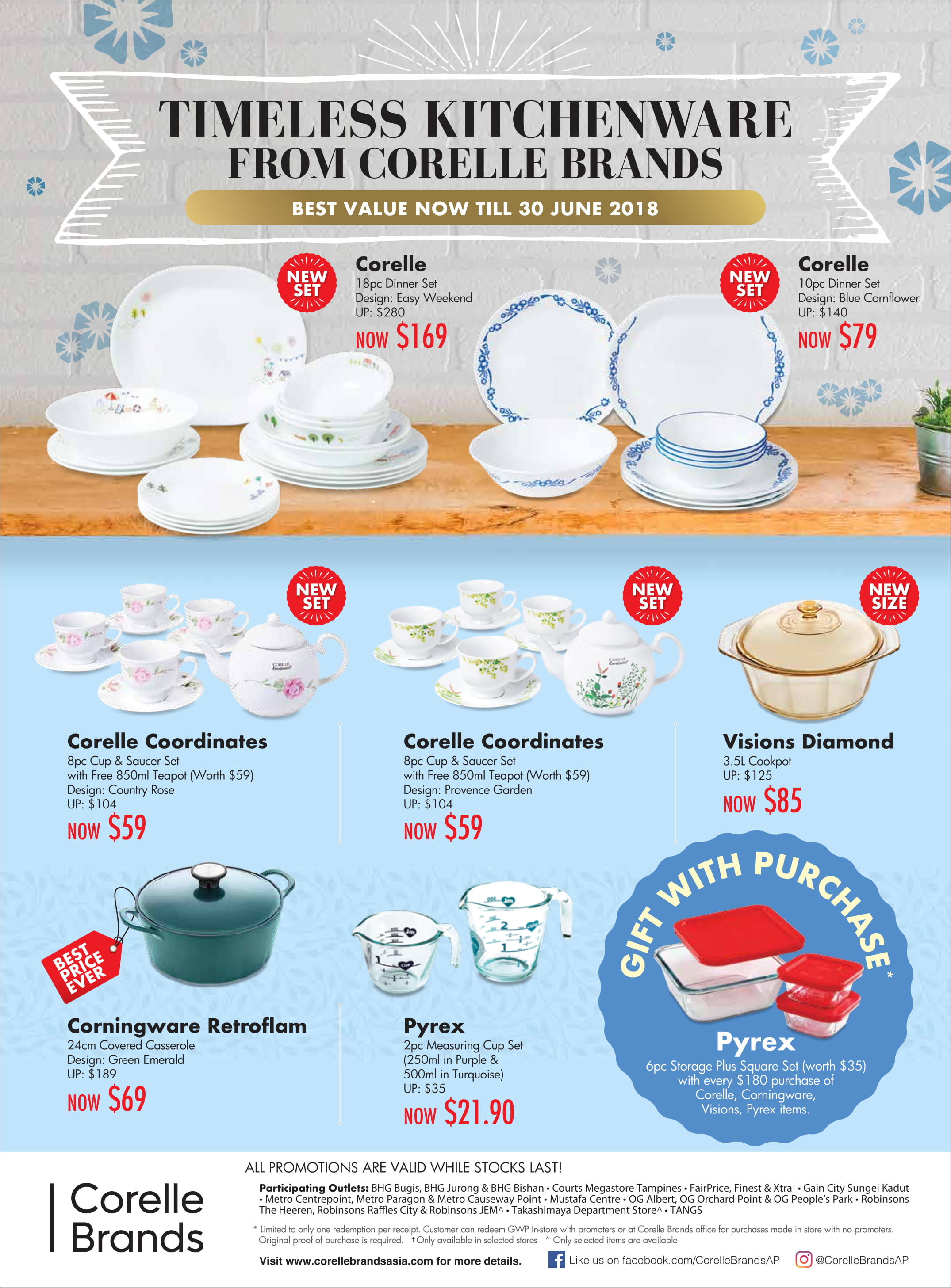Pyrex Love & Corelle Brands - Promotion till 30 June 2018