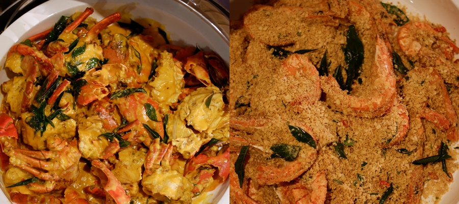 Salted Egg Crab, Oatmeal Prawns with Curry Leaves- Spice Brasserie- PARKROYAL on Kitchener Road