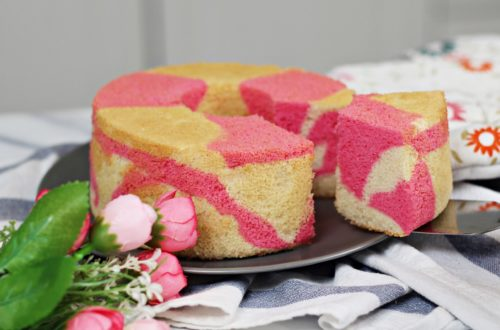 Two-tone Strawberry Chiffon Cake