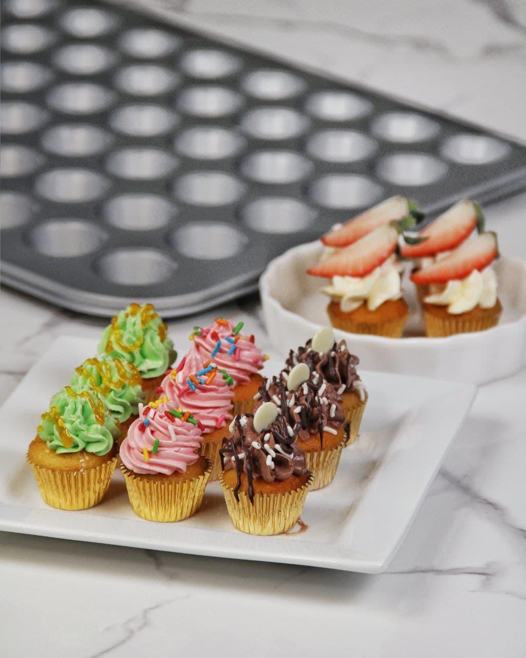 4 Flavors 1 Mini Cupcake Recipe with Städter Baking Pan